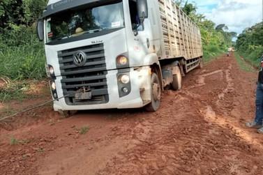 Região- Excesso de chuvas trava passagem de carretas boiadeiras em Alta Floresta