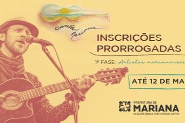 Inscrições para o Canta Mariana prorrogadas até 12 de maio