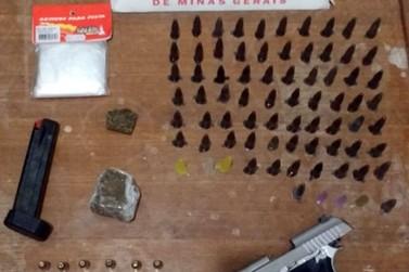 Polícia Militar apreende arma de fogo e drogas no Morro Santana, em Ouro Preto
