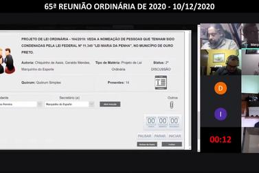 Ouro Preto aprova PL que proíbe a nomeação de condenados pela Lei Maria da Penha