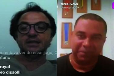 """Dirceu Paulino faz """"live"""" com Carlão, geração de ouro do vôlei"""