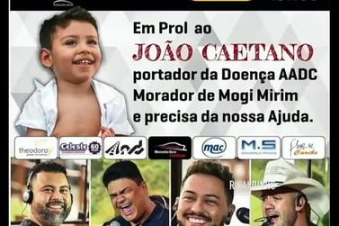 Sábado com live para ajudar o menino João Caetano