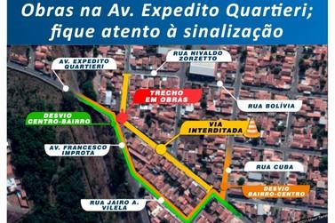 Nesta 5ª feira, Prefeitura irá interditar a Avenida Expedito Quartieri