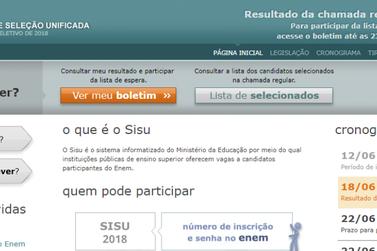 Resultado do Sisu já pode ser consultado pela internet