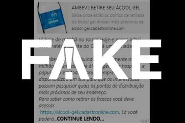 Mensagem que diz que Ambev está distribuindo álcool gel para a população é falsa