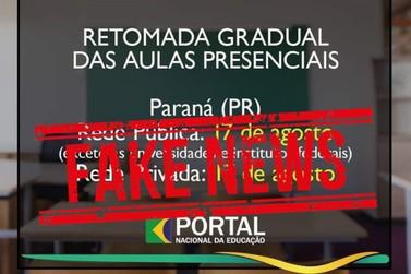 Notícia sobre retorno das aulas presenciais no Paraná é falsa