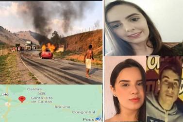 Colisão entre Pálio e carreta mata três jovens carbonizados