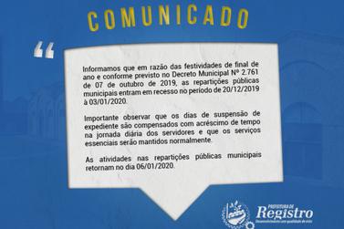 Prefeitura de Registro divulga comunicado sobre recesso de fim de ano