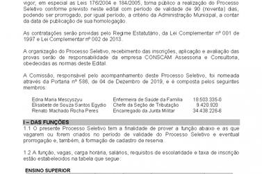Processo Seletivo da Prefeitura de Pariquera