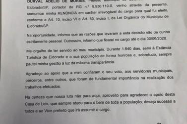Prefeito de Eldorado renuncia ao cargo