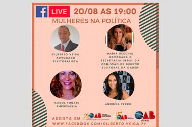 Mulheres na Política é tema de live hoje, às 19h30