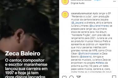 Zeca Baleiro e Juliana Linhares fazem  live nesta quinta