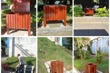 Eldorado começa a instalar lixeiras de madeira para descarte correto do lixo
