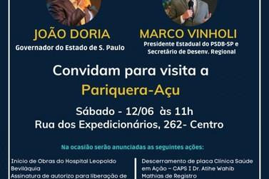 Governador João Doria cumpre agenda neste sábado (12) em Pariquera-Açu