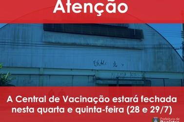 Central de Vacinação de Registro está fechada até amanhã, quinta (29)