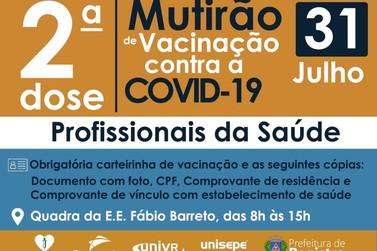 Mutirão de vacinação contra COVID-19 para profissionais da saúde neste sábado