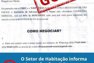 Setor de Habitação de Registro alerta para novos golpes envolvendo o CDHU