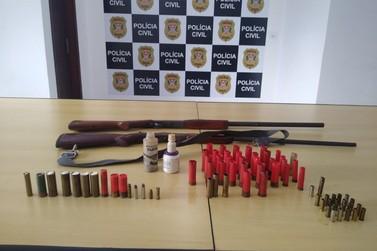 Homem é preso por posse irregular de armas e ameaça à esposa