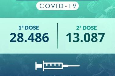 Idosos com 67 anos ou mais são vacinados contra a Covid em drive-thru