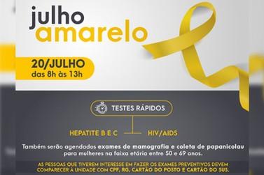 A Secretaria da Saúde realiza neste sábado dia (20) a Campanha Julho Amarelo
