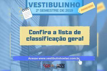 Confira a lista de classificação geral do Vestibulinho ETEC
