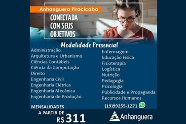 Anhanguera Piracicaba está com as inscrições abertas para o vestibular 2021