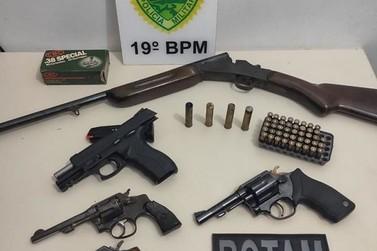 Diversas armas foram apreendidas pelo 19º BPM no último fim de semana