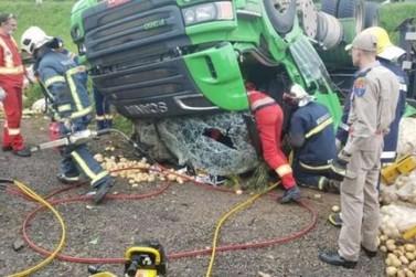 Motorista de caminhão carregado com batatas morre em acidente na BR 277