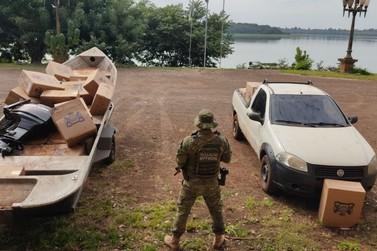 BPFRON, BOPE e PF apreendem veículo e embarcação com contrabando em Entre Rios