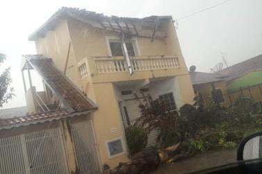 Casa é atingida por queda de árvore durante temporal em Santa Rita do Sapucaí