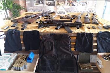Armas apreendidas em sítio de S. S. da Bela Vista seriam para ataques a bancos