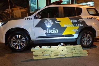 PM de SP apreende 35 Kg de maconha em veículo com placas de Sta. Rita do Sapucaí