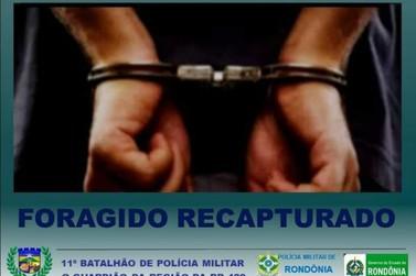 Foragido é capturado pela PM em São Miguel do Guaporé