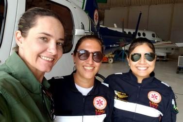 Mulheres compõem equipe do aeromédico do Samu em Maringá