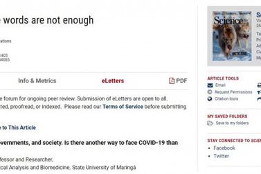 Pesquisadores da UEM têm carta sobre covid-19 publicada na revista Science