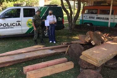 Apae de Umuarama recebe doação de madeiras apreendidas pela Polícia Ambiental