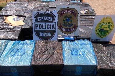 Forças policiais apreendem carga milionária de cigarros com apoio de helicóptero