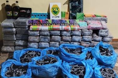 PM prende três homens e apreende grande quantidade de contrabando na PR-323