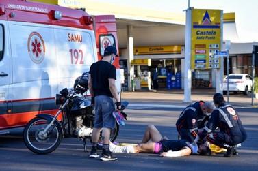 Mulher é socorrida com suspeita de fraturas em acidente em Umuarama
