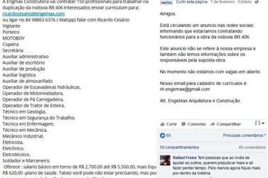 Falso anúncio de trabalho em obra na PR 323 viraliza nas redes sociais