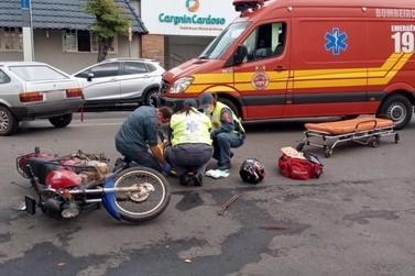 Bombeiros atendem acidente no centro de Porto União