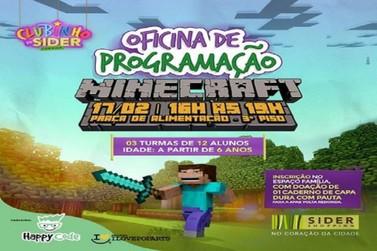 Oficina de programação Minecraft acontece no Clubinho do Sider Shopping