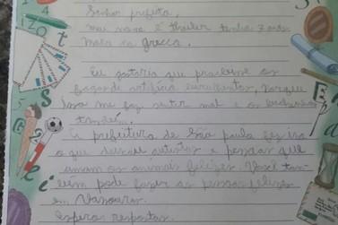 Menino com autismo escreve carta a prefeito de Vassouras