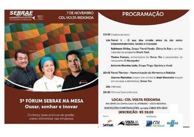 3º Fórum  Sebrae na Mesa - Da Cozinha ao Mercado - Ousar, Sonhar e Inovar